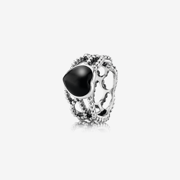 Silver ring with black onyx image number null