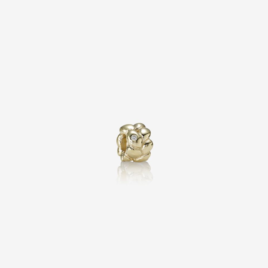 Abstract gold charm, 0.01ct TW h/vs diamond image number 0