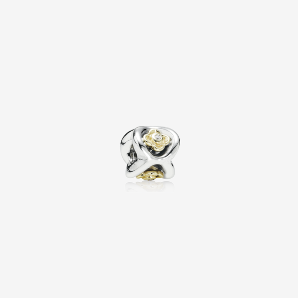 Floral silver charm with 14k, 0.03ct TW h/vs diamonds image number null