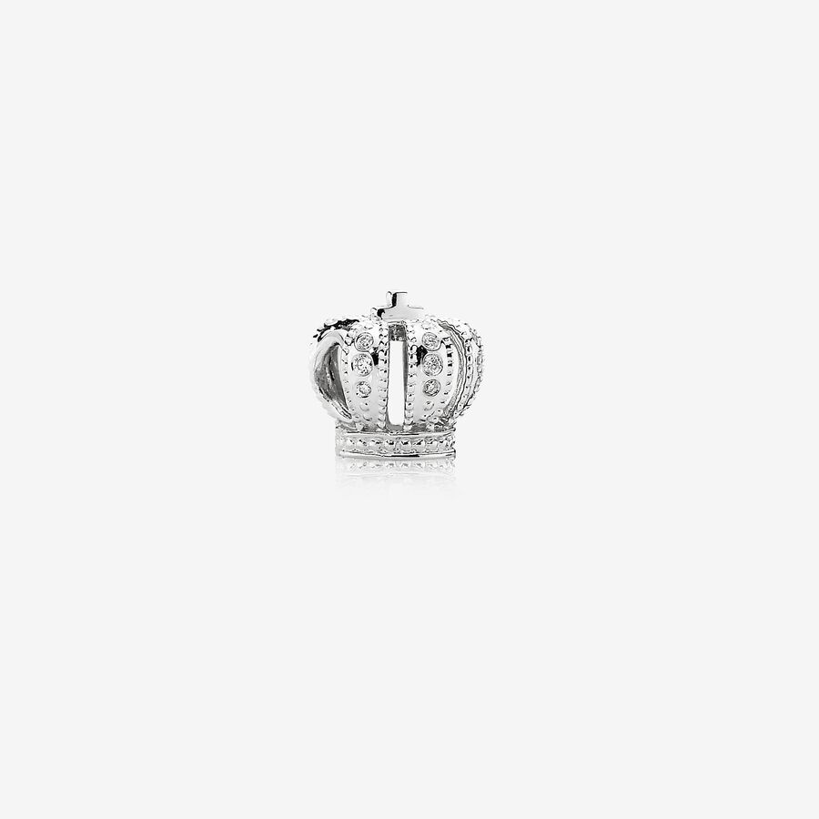 Majestic Crown, white gold charm, 0.108ct TW h/vs diamonds image number 0