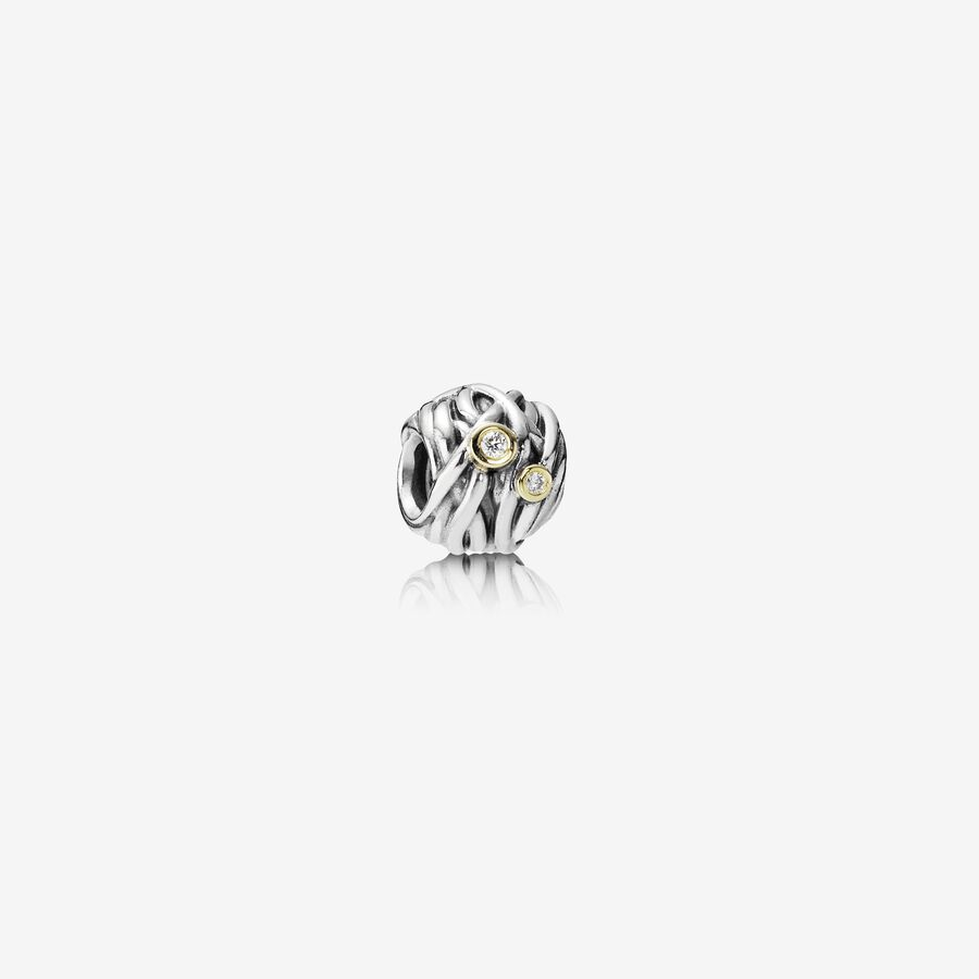 Abstract silver charm, 14k, 0.04ct TW h/vs diamonds image number 0