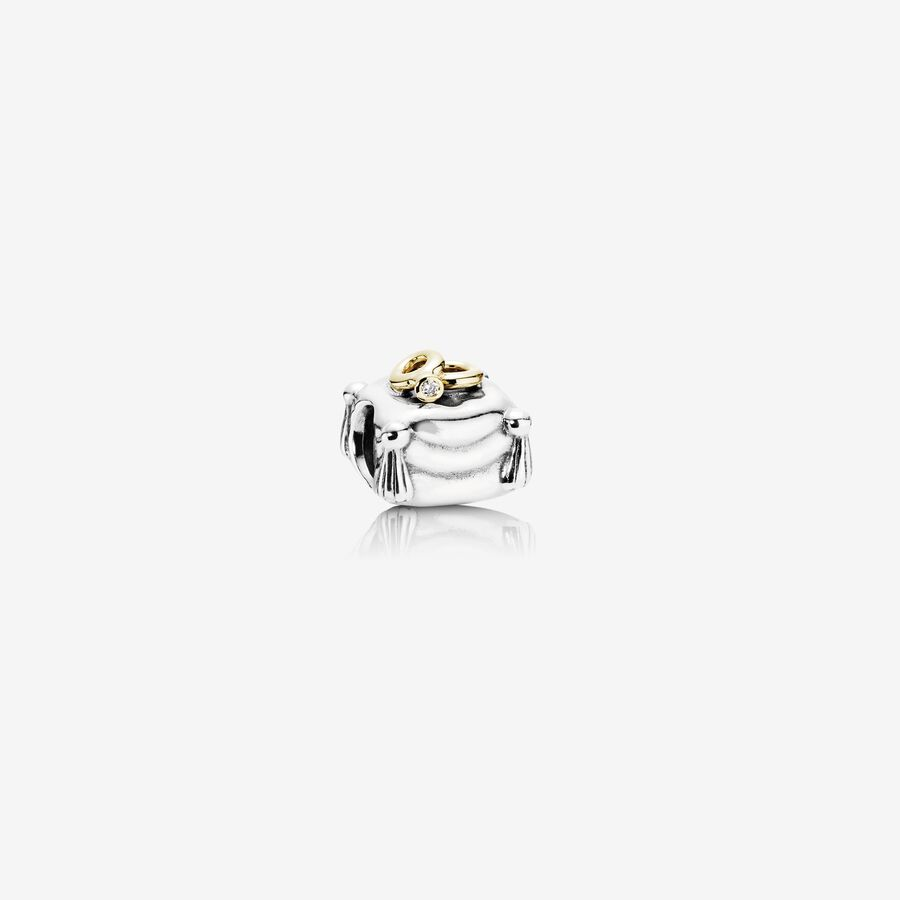 Wedding Rings, two rings on pillow silver charm, 14k, 0.004ct TW h/vs diamond image number 0