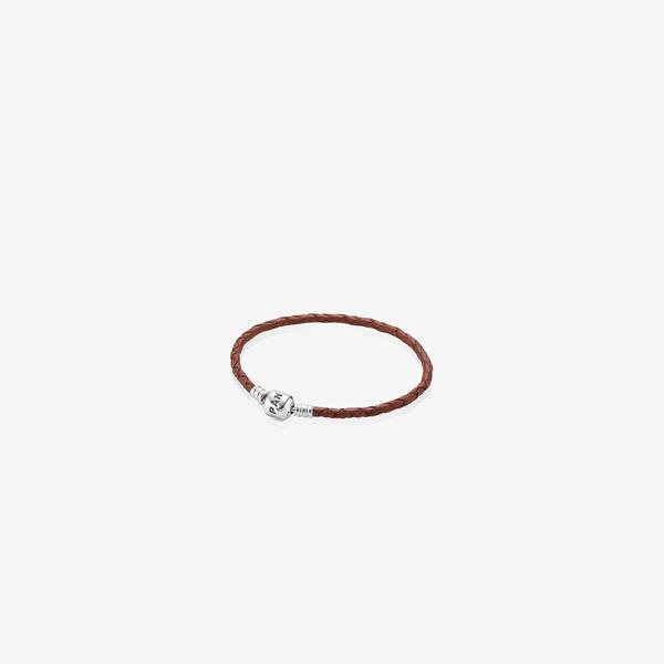 Pulsera de cuero trenzado simple y cierre Pandora en plata de ley image number null