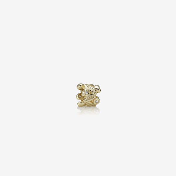 Leaves gold charm, 0.04ct TW h/vs diamonds image number null