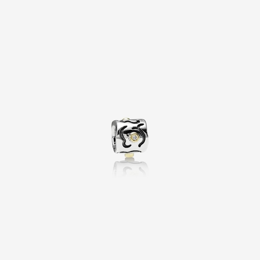 Abstract silver charm, 14k, 0.03ct TW h/vs diamonds image number 0