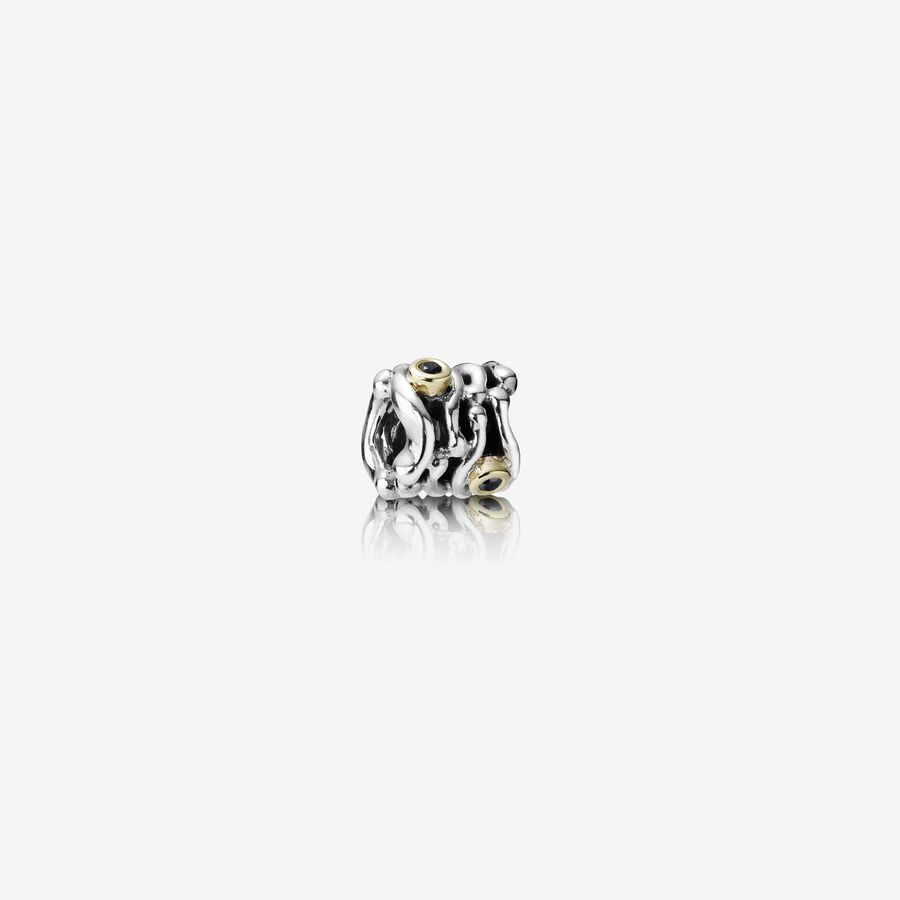 Abstract silver charm, 14k, 0.06ct TW black diamonds image number 0