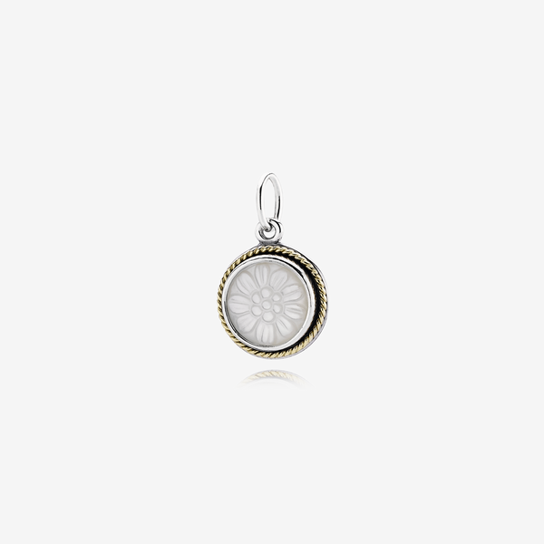 Silver pendant, 14k, carved mother of pearl image number null