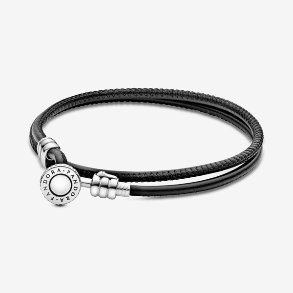 Pulsera Moments en cuero negro doble para charms image number null