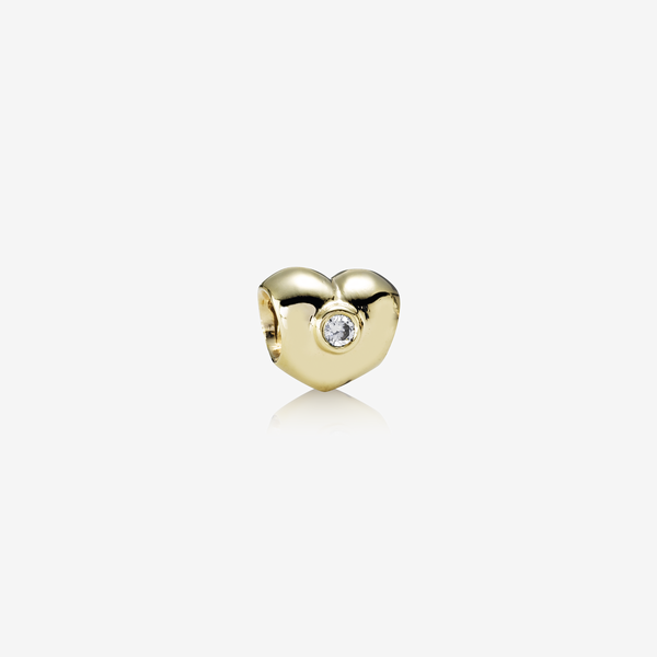 Sparkling Heart, heart gold charm, 0.12ct TW h/si diamonds image number null