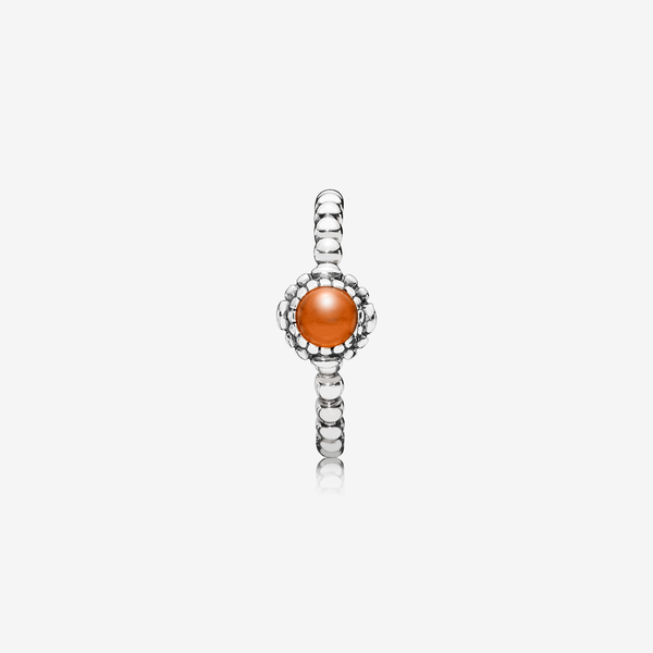 Silver ring, birthstone-July, carnelian image number null