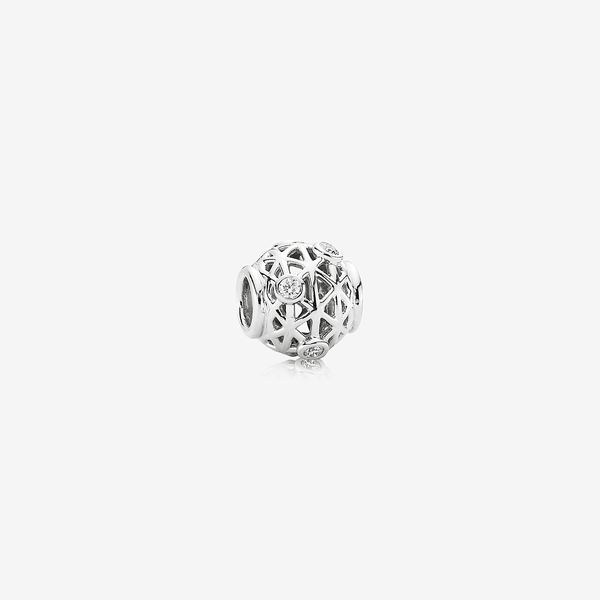 Open Grid, abstract white gold charm, 0.18ct TW h/vs diamonds image number null