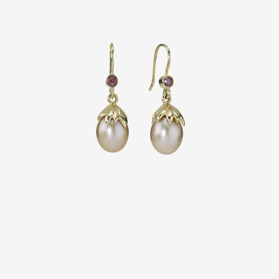Gold earring, 0.01ct TW h/vs diamonds image number 0