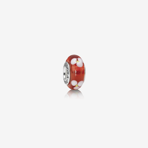 Charm Cristal de Murano Floral Rojo image number null