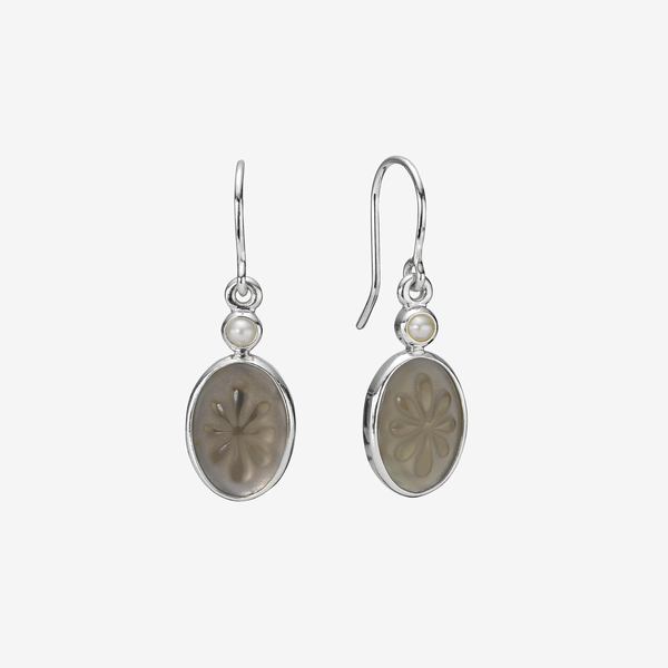 Silver earring, pearl, sq image number null