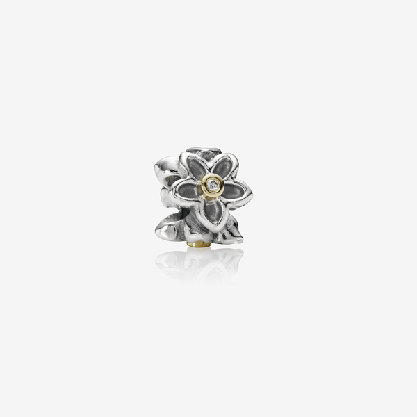 Hawthorn, floral silver charm with 14k, 0.03ct TW h/vs diamonds image number null