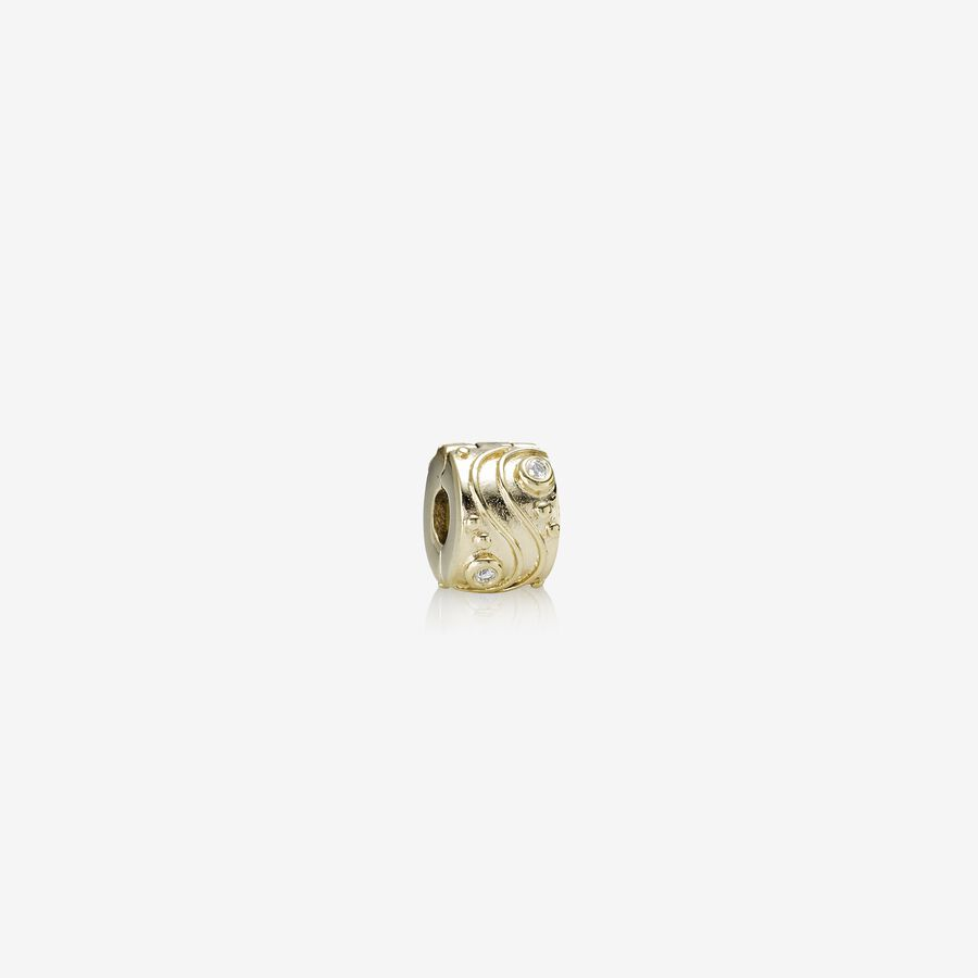Babbling Brook, abstract gold clip, 0.04ct TW h/vs diamonds image number 0