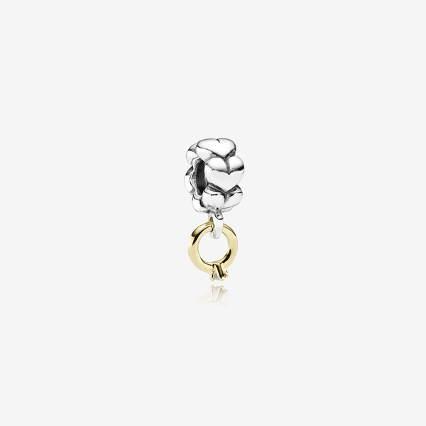 Solitaire, ring silver dangle with 14k, 0.02ct h/vs diamond image number null
