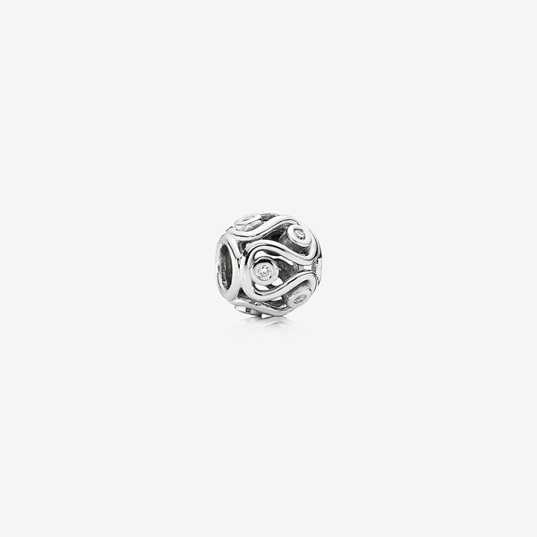 Willow, abstract white gold charm, 0.12ct TW h/vs diamonds image number null
