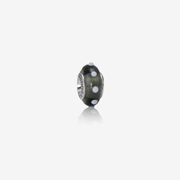 Charm de plata de ley y cristal de Murano Negro con motivos en blanco image number null