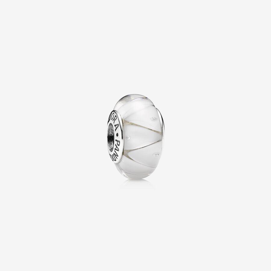 Charm Cristal de Murano Zig-Zag Blanco image number 0