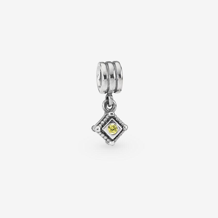 Charm de plata de ley y circonita cúbica amarilla en colgante image number 0