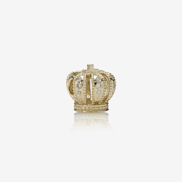 Majestic Crown, gold charm, 0.108ct TW h/vs diamonds image number null