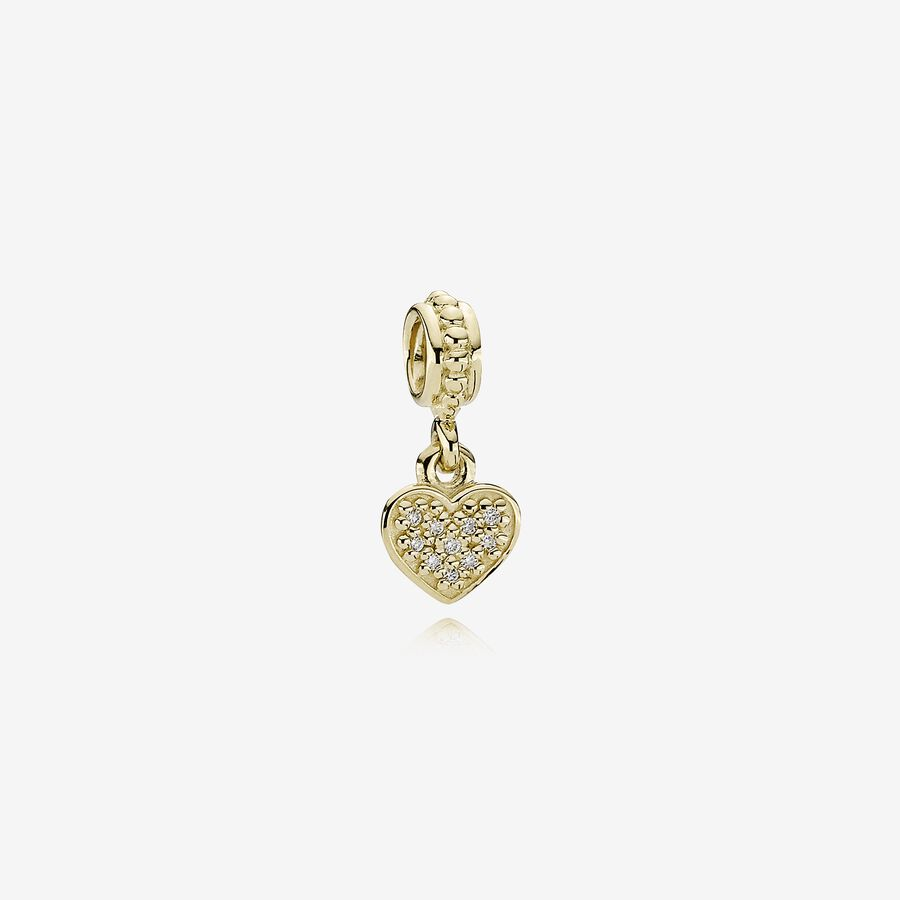 Pavé Hanging Heart, gold dangle with 0.06ct TW h/vs diamonds image number 0