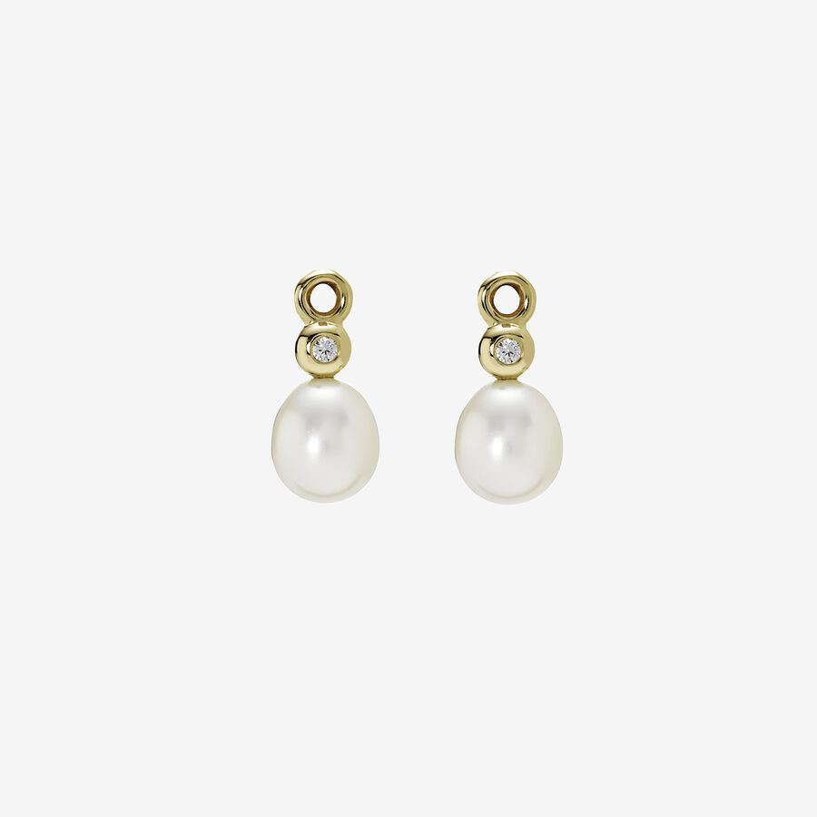Gold earring, white pearl, 0.04ct TW h/vs diamonds image number 0