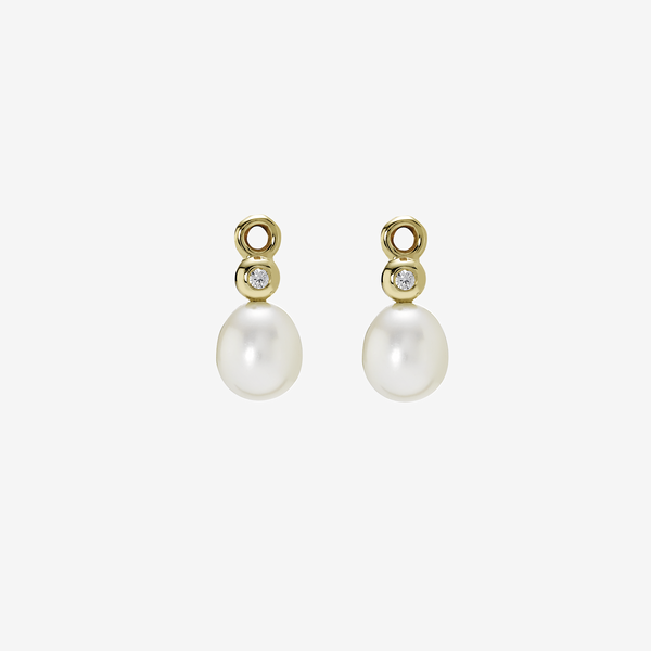 Gold earring, white pearl, 0.04ct TW h/vs diamonds image number null