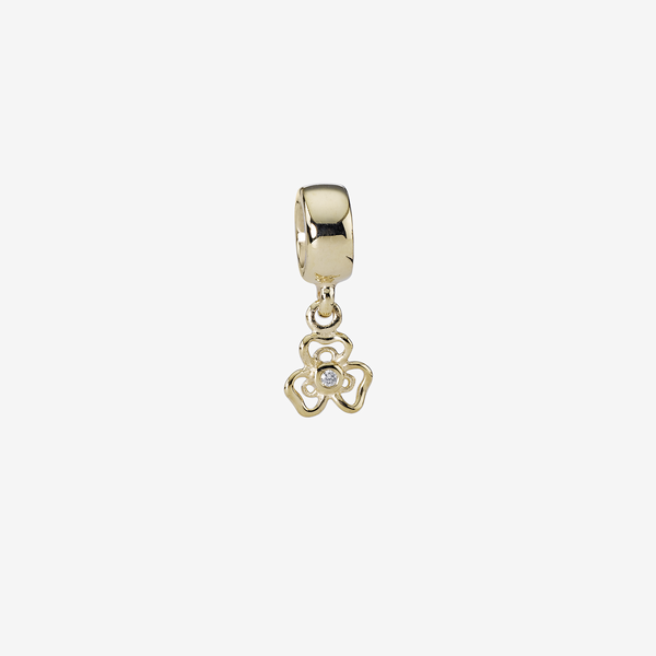 Floral gold dangle, 0.01ct TW h/vs diamond image number null