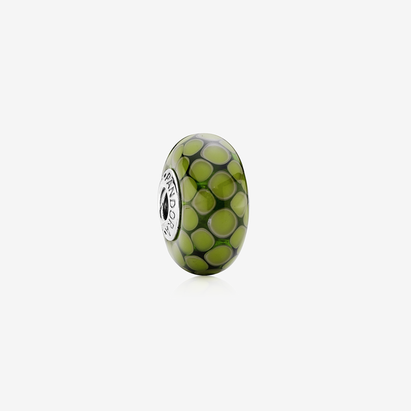 Dotted XL silver charm with green murano glass image number null
