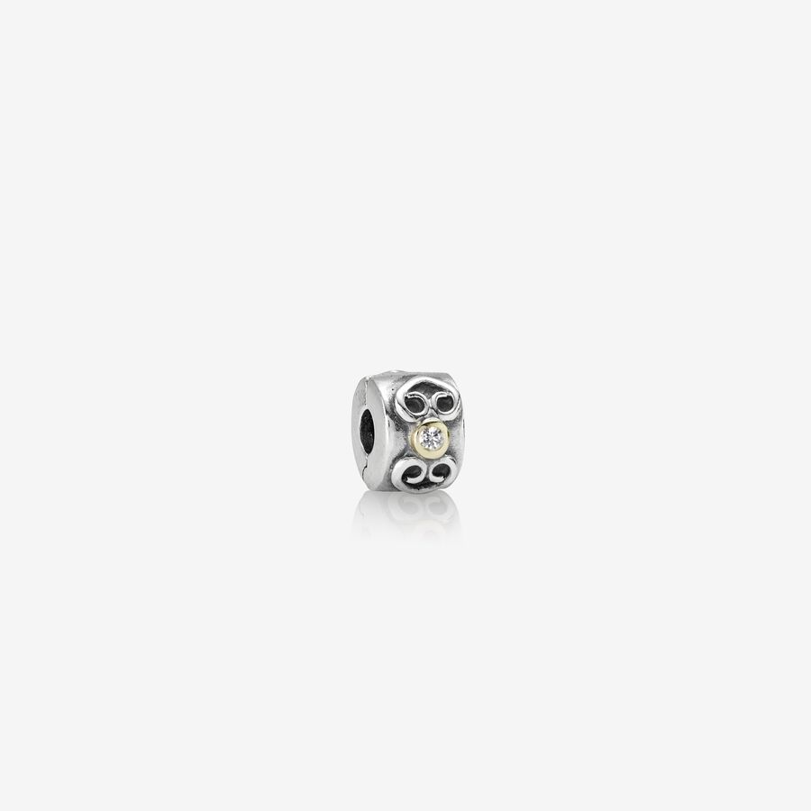Abstract silver clip, 14K, 0.03ct TW h/vs diamonds image number 0