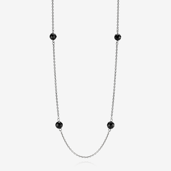 Oxidised silver station necklace, black onyx image number null