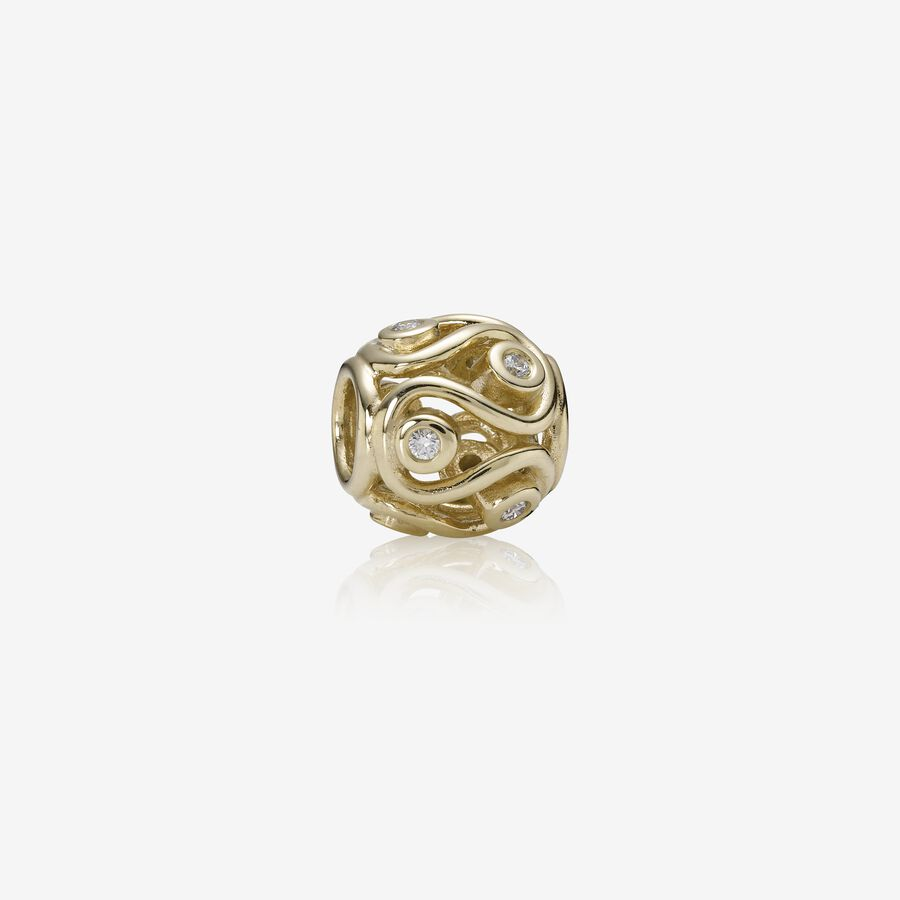 Abstract gold charm, 0.12ct TW h/vs diamonds image number 0